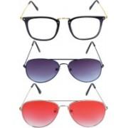 Reyda Aviator, Aviator, Rectangular Sunglasses(Clear, Violet, Red)