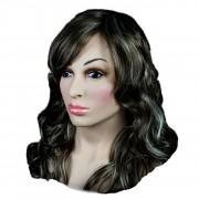 XDRESSER Frauen Silikon Maske mit schwarzer Perrücke und Schnüru