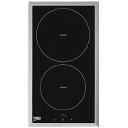 Plita electrica incorporabila Beko HDMI32400DTX, inductie, 30 cm, 2 zone, rama inox, negru