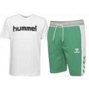 Pachet hummel Mason barbati, bermude + tricou bumbac logo, verde-alb S