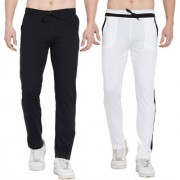 Cliths Cotton Lower for Men Stylish Pack of 2 Trackpants for Men (White Black Black Grey)