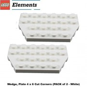Lego Parts: Wedge Plate 4 x 6 Cut Corners (PACK of 2 - White)