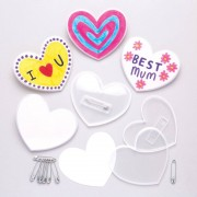 Baker Ross Heart Pin Badge Kits - 10 Craft Pin Badges With Card Inserts. Make Your Own Badges. Size 6cm.