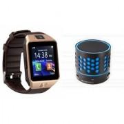 Mirza DZ09 Smartwatch and S10 Bluetooth Speaker for SAMSUNG GALAXY CORE PRIME VE(DZ09 Smart Watch With 4G Sim Card Memory Card| S10 Bluetooth Speaker)