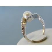 Zlatý prsteň biele zlato perla kamienky DP55392B