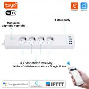 WiFi inteligentná Predlžovačka 4 portová Tuya Smart Life