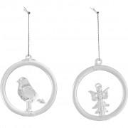 Villeroy & Boch Christmas Decoration Suspension en verre Oiseau et ange 8,5cm