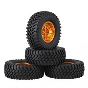 Mxfans RC 1:10 Black 100mm OD Rubber Tyres + Gold Y-Shape Aluminum Alloy Wheel Rims Upgrade for Climbing Rock Crawler Set of 4