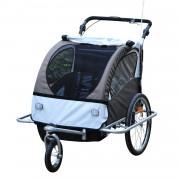 HomCom Reboque de bicicleta para crianças 2 assentos com amortecedor e barra + carrinho de pé - branco, cinza, preto