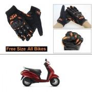 AutoStark Gloves KTM Bike Riding Gloves Orange and Black Riding Gloves Free Size For Honda Activa