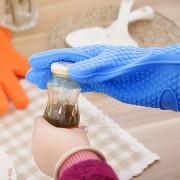 EW Cocina De Silicona Resistente Al Calor Del Horno Del Guante Pot Hornear Porta-herramienta Barbacoa Cocinar Azul (sólo)