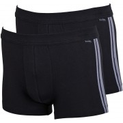 Schiesser Shorts Black Stripe (2Pack) - Grau M