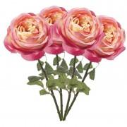 Geen 4x Roze rozen kunstbloemen 66 cm