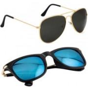 Phenomenal Aviator, Wayfarer Sunglasses(Black, Blue)