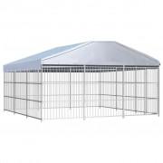 vidaXL Външна клетка за кучета с покрив, 450x450x200 см