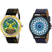 Gen-Z Trendy Graphic Leather Strap Peace Maze Combo of 2 watches for Men GENZ-CO-PEACE-MAZE