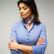 Eșarfă de mătase cu model stil lacrimi 10150