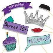 Drop the Mic Birthday Girl Photo Booth Props - Party Supplies DIY Kit: Banners, Signs, Hats, Mustaches and More - Baby Girls First Birthday or Sweet 16 Decorations - 20 pcs for Multiple Booths