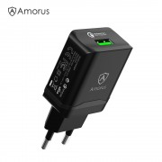 AMORUS QC01 18W QC3.0 Quick Charge Wall Charger Adapter [CE/RoHS] 3A Max Fast Charging - EU Plug