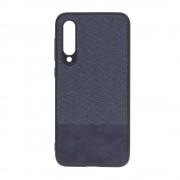 Shop4 - Xiaomi Mi 9 SE Hoesje - Zachte Back Case Denim en Leer Donker Blauw