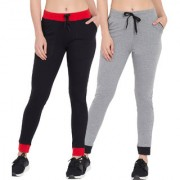 Cliths Lowers for Women Stylish Pack Of 2/ Cotton Black Red Grey Black Track Jogger For Women/Girls