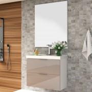 Kit Banheiro Gabinete 80cm Lavatório e Espelho Pietra - Bosi