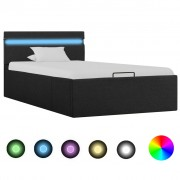vidaXL Легло с повдигащ механизъм с LED тъмносиво текстил 90x200 см
