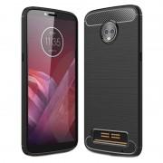 Capa de TPU Escovado para Motorola Moto Z3 Play - Fibra de Carbono - Preto