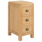 Devonshire Avon Avon Waxed Oak Compact 3 Drawer Bedside Table Fully Assembled