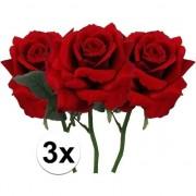 Bellatio flowers & plants 3 x Kunstbloemen steelbloem rode roos deluxe 31 cm