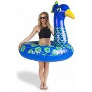 BigMouth Waterspeelgoed XXL blauwe pauwen zwemband/zwemring 110 cm