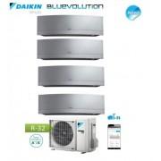 Daikin Climatizzatore Condizionatore Daikin Quadri Split Inverter Serie Emura Silver Wi-Fi R-32 Bluevolution 9+9+9+9 Con 4mxm68m - New