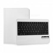 elegante bluetooth V3.0 teclado de 59 teclas con 360 grados de rotacion de cuero de la PU para ipad MINI - blanco
