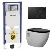 Douche Concurrent Geberit UP720 Toiletset - Inbouw WC Hangtoilet Wandcloset Rimfree - Daley Flatline Zwart Sigma-01 Zwart