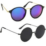 Tazzx Cat-eye, Round Sunglasses(Blue, Black)