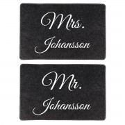 """Presenter 2 bordsunderlägg i filt """"Mr & Mrs"""""""