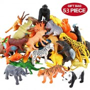 SaiDeng Animals Figure 53pcs Mini Jungle Animals Toys Set Realistic Wild Vinyl Plastic Animal Learning Party Favors Toys for Boys Girls Kids Toddlers Forest Small Animals Playset Cupcake Topper