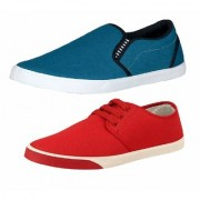 Chevit Combo Pack of 2 Blue Red Casual Shoe (Loafers Sneakers Shoes)