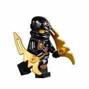 LEGO Ninjago Minifigure - Cole Zukin Robe Jungle Black Ninja with Dual Gold Jagged Blades (70747)