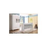 Kit Quarto De Bebê Ariel Branco Brilho Com Berço-guarda-roupas 3 Portas Carolina Baby