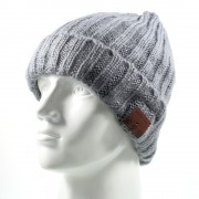 Grid Pattern Knitted Winter Warm Hat Built-in Wireless Bluetooth Headphone & Microphone - Grey