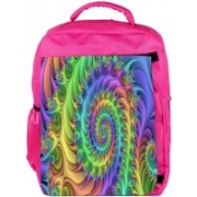 Snoogg Eco Friendly Canvas Multicolor Abstract Design Designer Backpack Rucksack School Travel Unisex Casual Canvas Bag Bookbag Satchel 5 L Backpack(Pink)