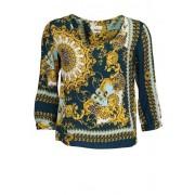 Rich & Royal RICH&ROYAL Langarm Blusenshirt V-Ausschnitt Loose Fit Muster grün