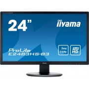 LED-monitor 61 cm (24 inch) Iiyama E2483HS-B3 Energielabel A 1920 x 1080 pix Full HD 1 ms HDMI, DisplayPort, VGA, Hoofdtelefoon (3.5 mm jackplug) TN LED