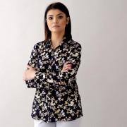Női fekete bézs ing Willsoor virágos / növényes 10556