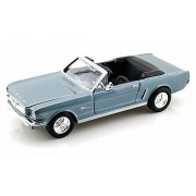 1964.5 Ford Mustang Convertible, Blue - Motormax Premium American 73212 - 1/24 Scale Diecast Model Car