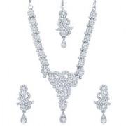 Sukkhi Enchanting Rhodium Plated Australian Diamond Stone Studded Necklace Set