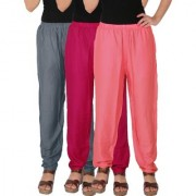 Culture the Dignity Women's Rayon Solid Casual Pants Office Trousers With Side Pockets Combo of 3 - Grey - Magenta - Baby Pink - C_RPT_G1M1P2 - Pack of 3 - Free Size