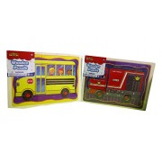 Real Wood Toys Wooden Puzzles 2 Pack-School Bus and Fire Truck