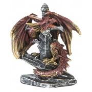 Röd och Guldfärgad Drake med Svärd - 8 cm Figur